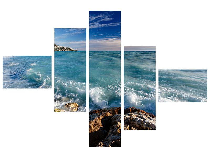 Metallic-Bild 5-teilig modern Cote D`Azur