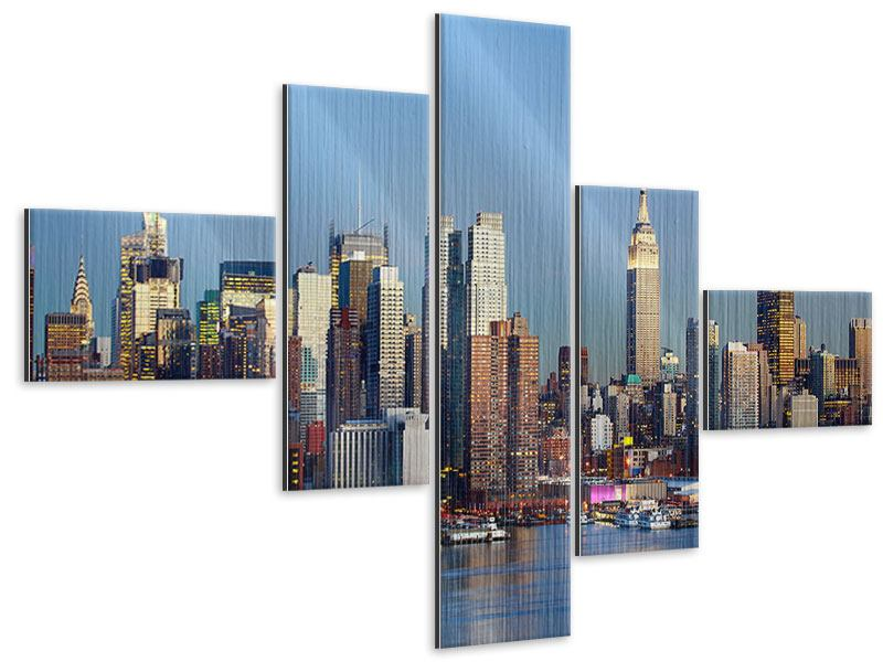 Metallic-Bild 5-teilig modern Skyline Midtown Manhattan