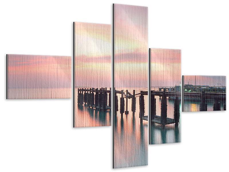 Metallic-Bild 5-teilig modern Der beruhigende Sonnenuntergang
