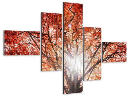 Metallic-Bild 5-teilig modern Herbstlicht