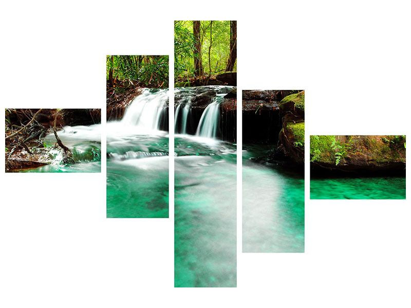 Metallic-Bild 5-teilig modern Der Fluss am Wasserfall