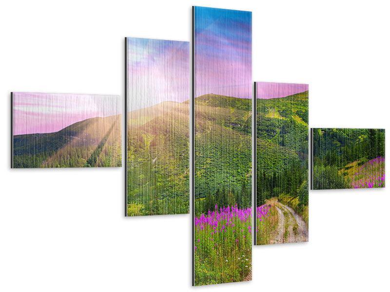 Metallic-Bild 5-teilig modern Eine Sommerlandschaft bei Sonnenaufgang