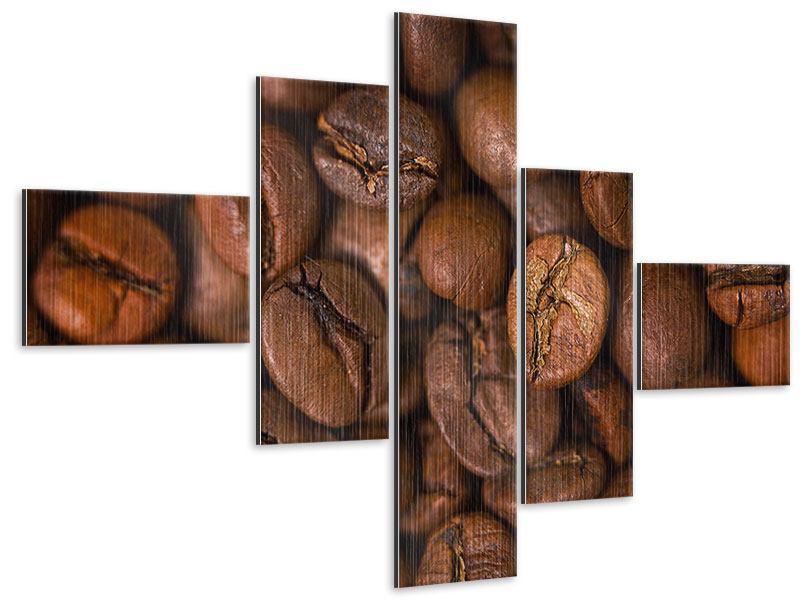 Metallic-Bild 5-teilig modern Close Up Kaffeebohnen