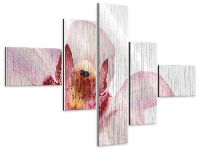 Metallic-Bild 5-teilig modern Orchideenblüte XXL