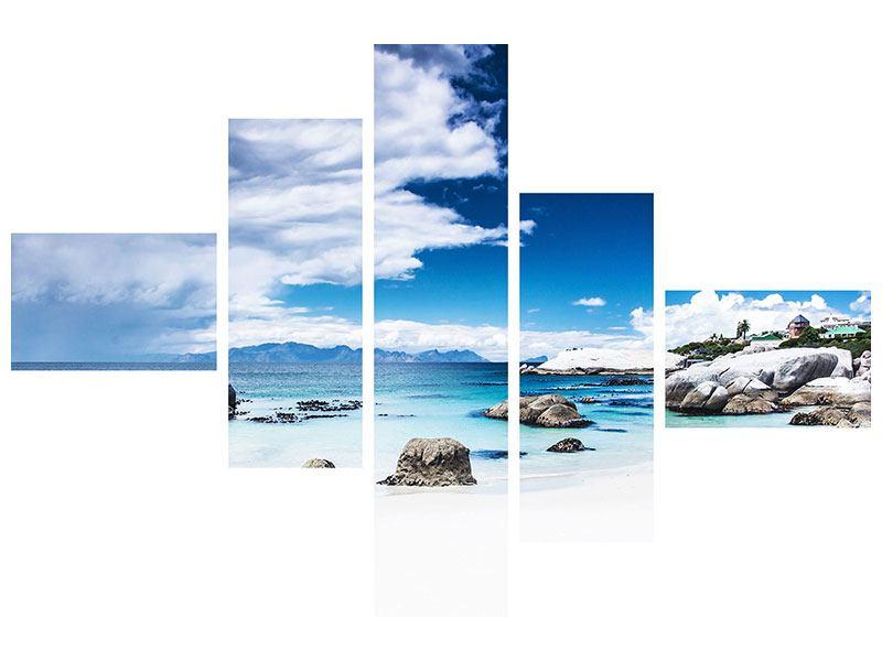 Metallic-Bild 5-teilig modern Inselfeeling