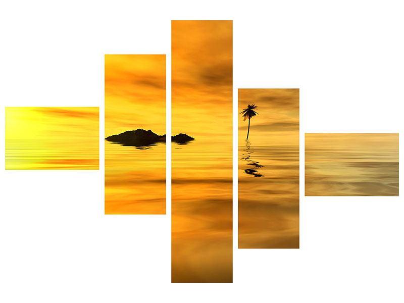 Metallic-Bild 5-teilig modern Ab auf die Insel