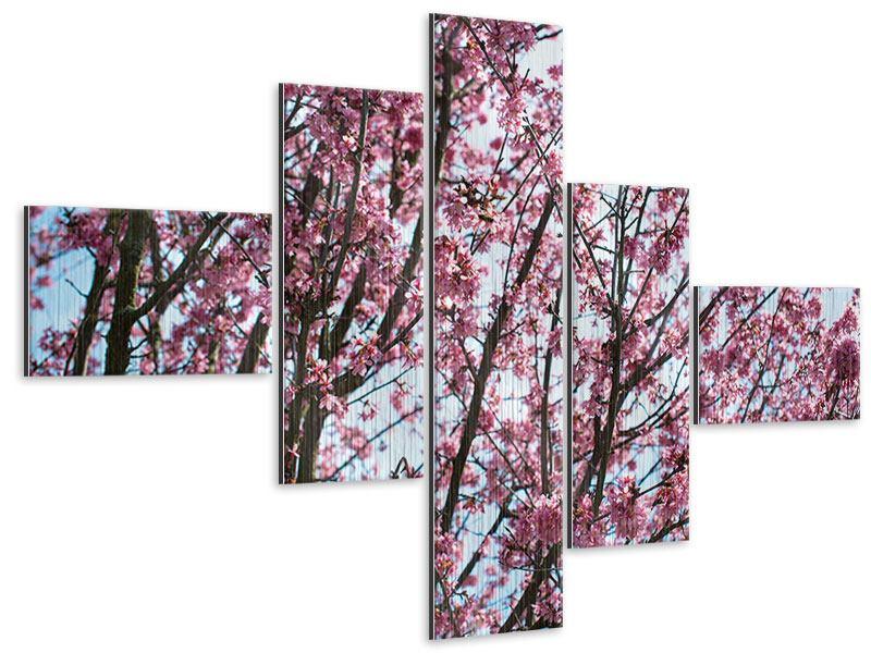 Metallic-Bild 5-teilig modern Japanische Blütenkirsche