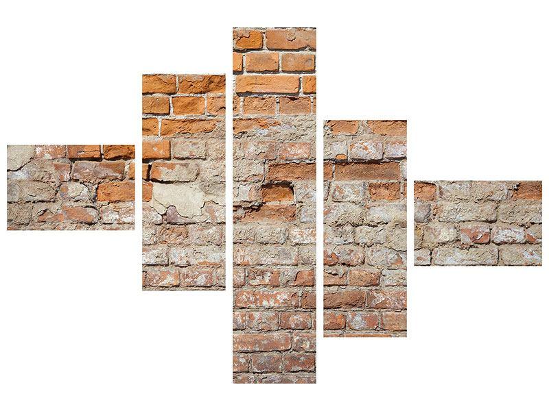 Metallic-Bild 5-teilig modern Alte Klagemauer