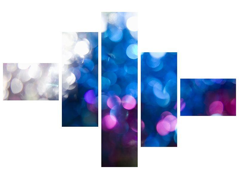 Metallic-Bild 5-teilig modern Abstraktes Licht