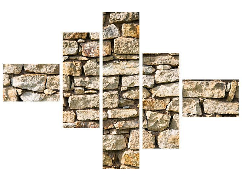 Metallic-Bild 5-teilig modern Natursteine