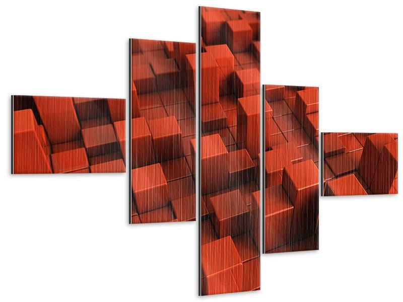 Metallic-Bild 5-teilig modern 3D-Rechtkant