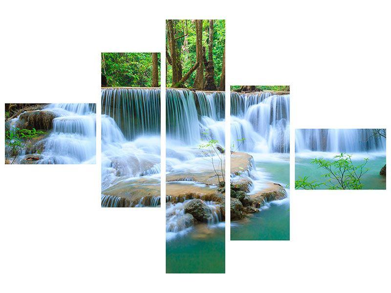 Metallic-Bild 5-teilig modern Kaskaden Huay Mae Khamin