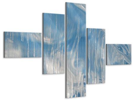 Metallic-Bild 5-teilig modern Das Eis des Baikalsees