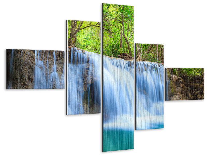 Metallic-Bild 5-teilig modern Wasserfall Si Nakharin