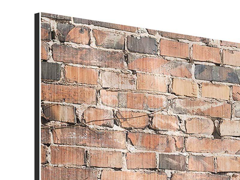 Metallic-Bild 5-teilig modern Alte Backsteinmauer