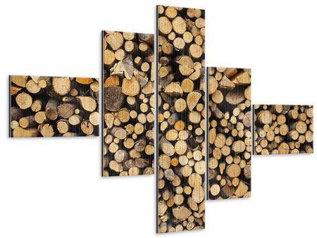 Metallic-Bild 5-teilig modern Brennholz