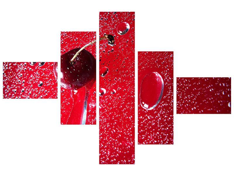 Metallic-Bild 5-teilig modern Die Kirsche