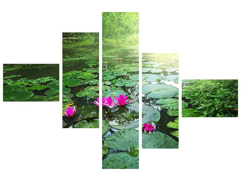 Metallic-Bild 5-teilig modern Gartenteich