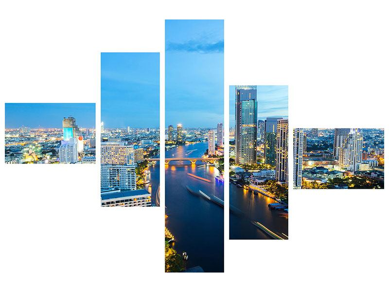 Metallic-Bild 5-teilig modern Skyline Bangkok in der Abenddämmerung