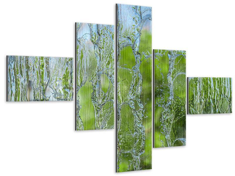 Metallic-Bild 5-teilig modern Hinter dem Wasserfall