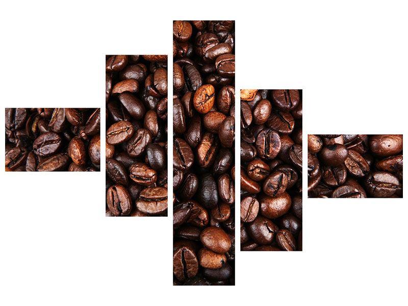 Metallic-Bild 5-teilig modern Kaffeebohnen in XXL