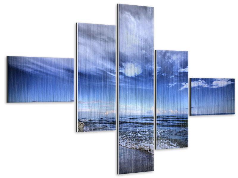 Metallic-Bild 5-teilig modern Strandwellen