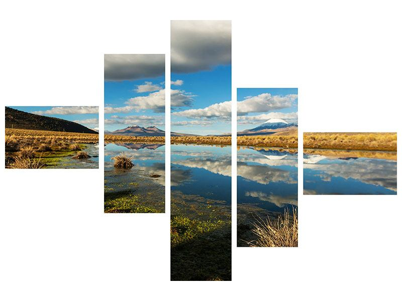 Metallic-Bild 5-teilig modern Wasserspiegelung am See
