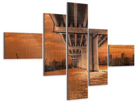 Metallic-Bild 5-teilig modern Die Brücke