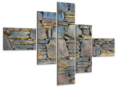 Metallic-Bild 5-teilig modern Natürliche Steinmauer