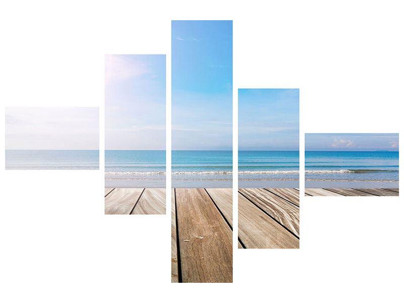 Metallic-Bild 5-teilig modern Das schöne Strandhaus