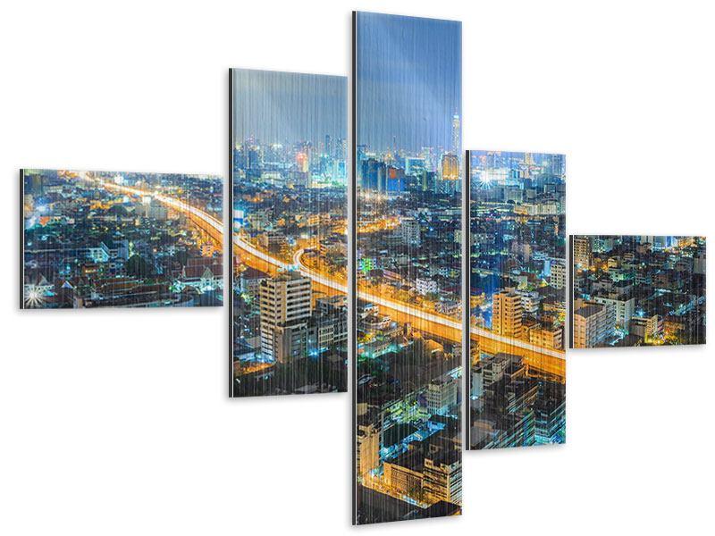 Metallic-Bild 5-teilig modern Skyline Bangkok im Fieber der Nacht