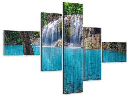 Metallic-Bild 5-teilig modern Naturerlebnis Wasserfall