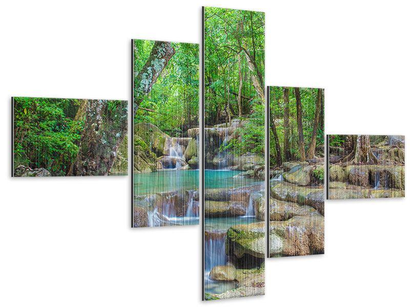 Metallic-Bild 5-teilig modern Wasserspektakel