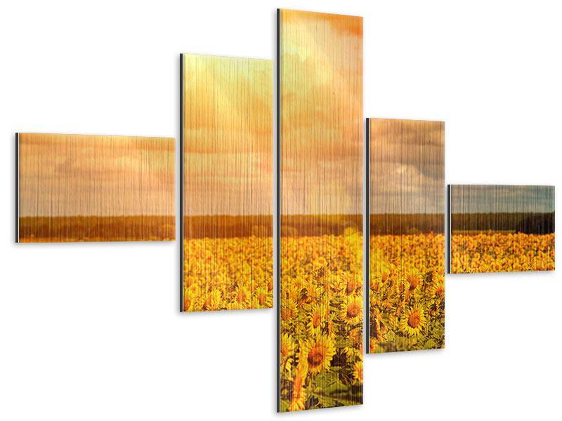Metallic-Bild 5-teilig modern Goldenes Licht für Sonnenblumen