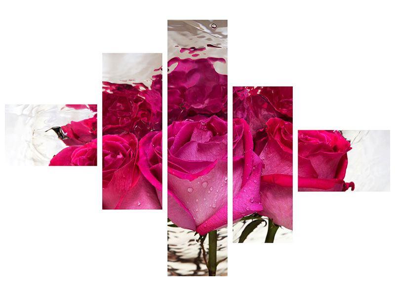 Metallic-Bild 5-teilig modern Die Rosenspiegelung