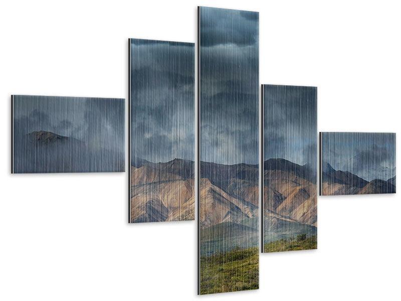 Metallic-Bild 5-teilig modern Silberstreifen