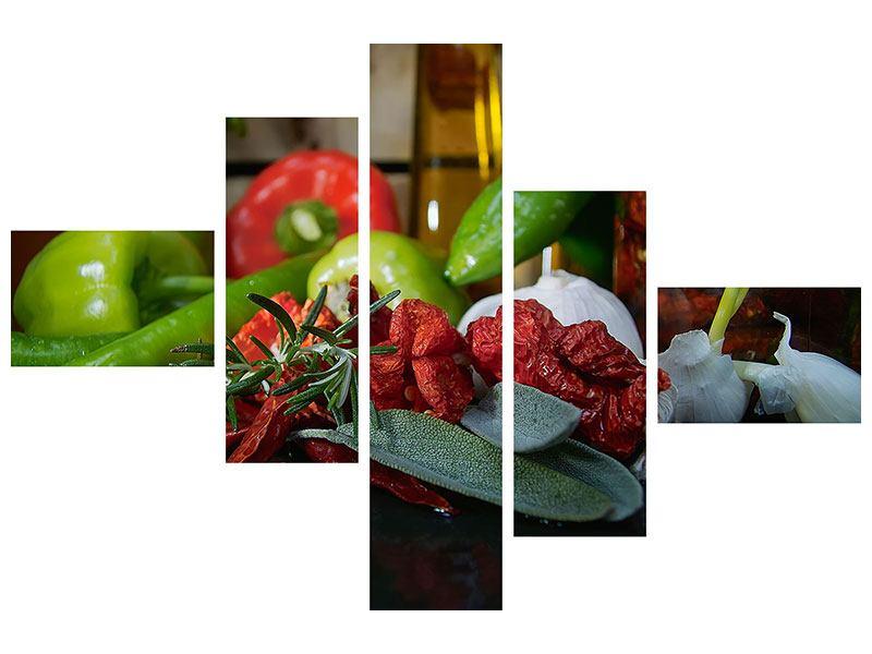 Metallic-Bild 5-teilig modern Mediterranes Gemüse