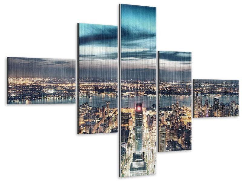 Metallic-Bild 5-teilig modern Skyline Manhattan Citylights