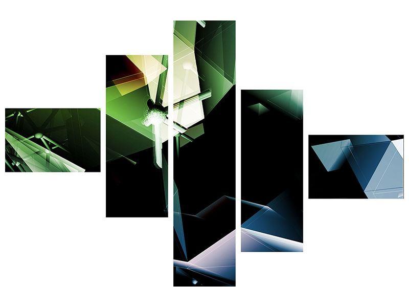 Metallic-Bild 5-teilig modern 3D-Polygon