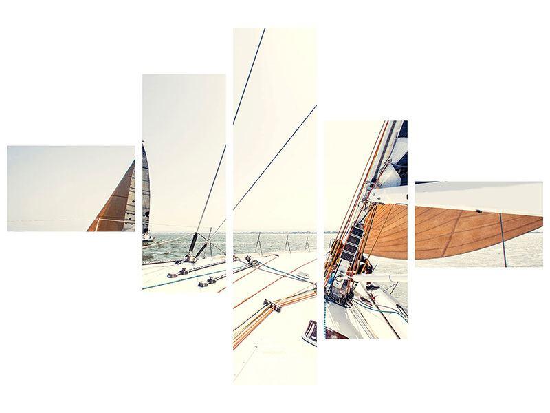 Metallic-Bild 5-teilig modern Segelyacht