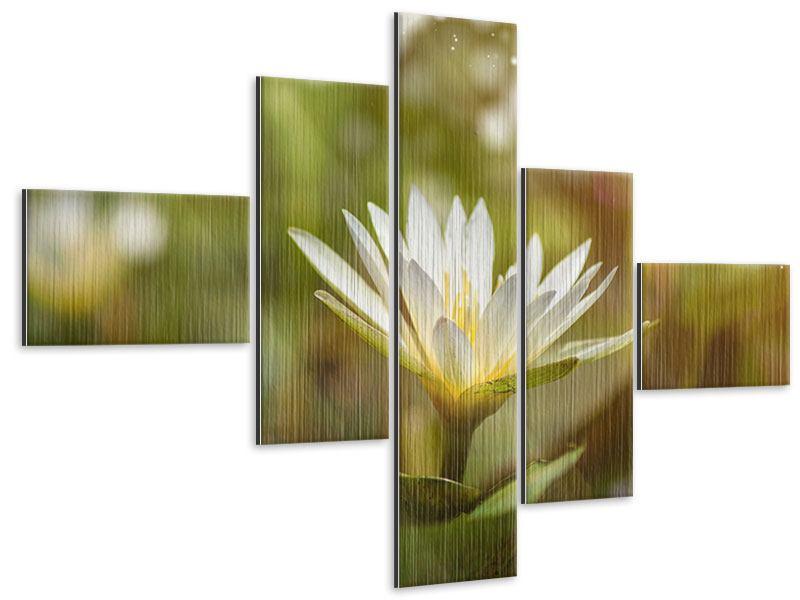 Metallic-Bild 5-teilig modern Lilien-Lichtspiel