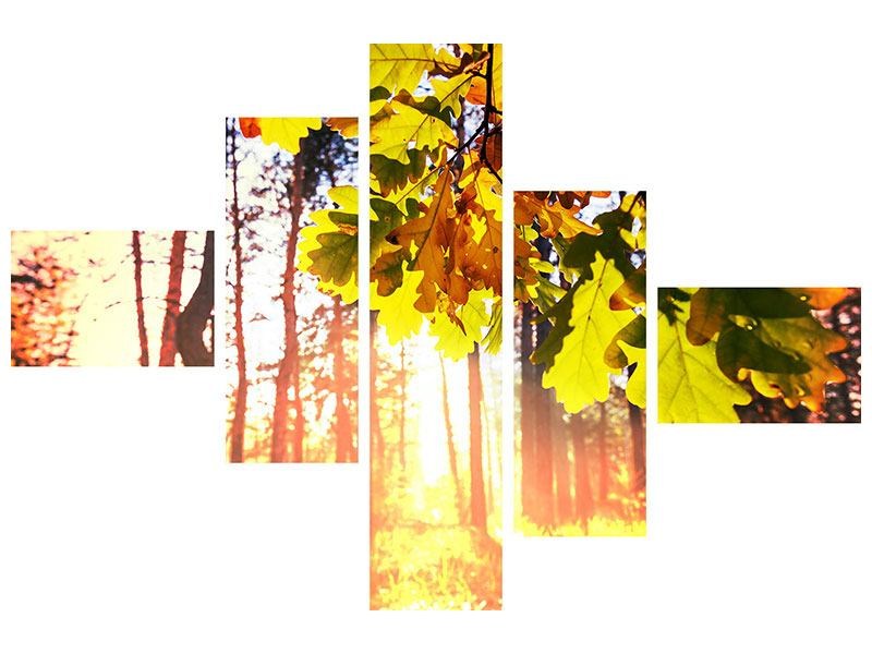 Metallic-Bild 5-teilig modern Herbst