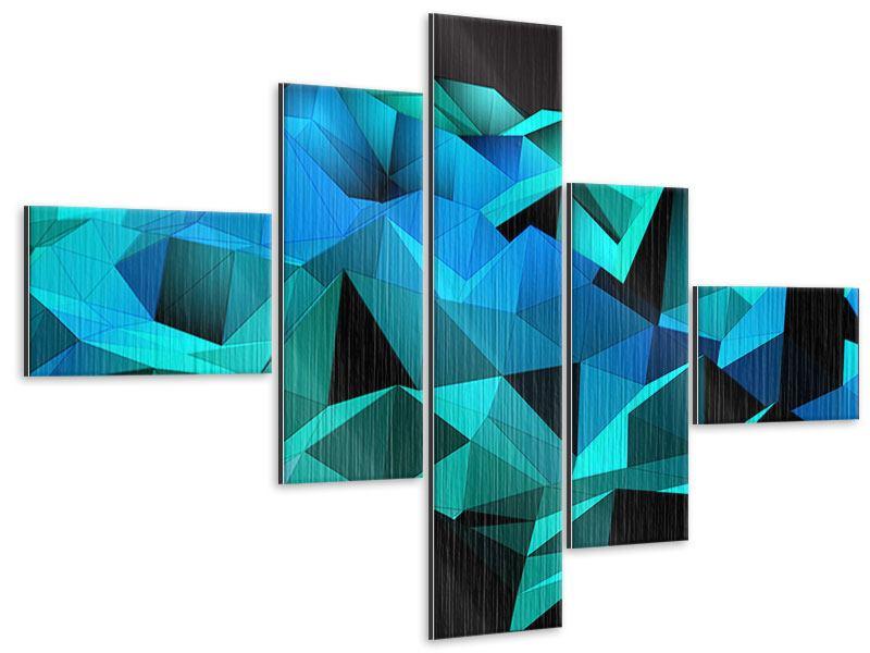 Metallic-Bild 5-teilig modern 3D-Diamonds