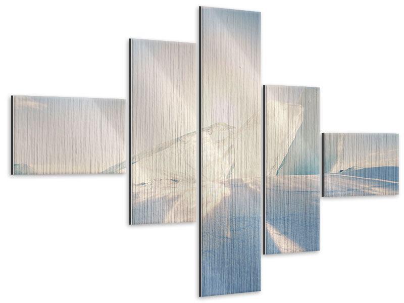 Metallic-Bild 5-teilig modern Eislandschaft
