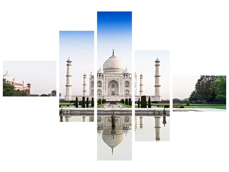 Metallic-Bild 5-teilig modern Taj Mahal