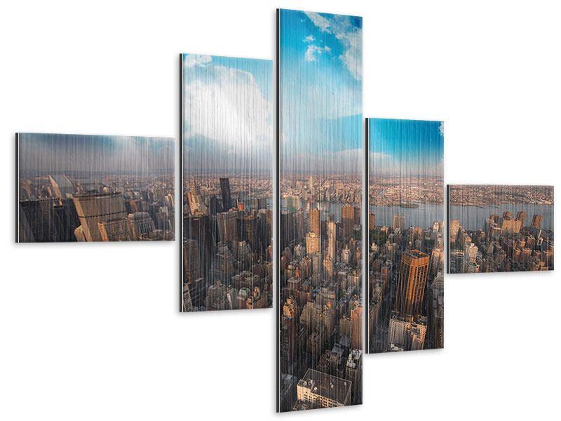 Metallic-Bild 5-teilig modern Skyline Über den Dächern von Manhattan