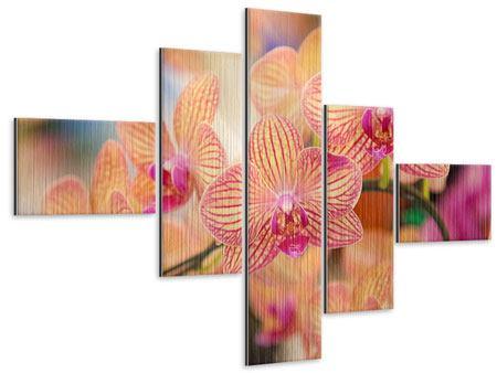 Metallic-Bild 5-teilig modern Exotische Orchideen