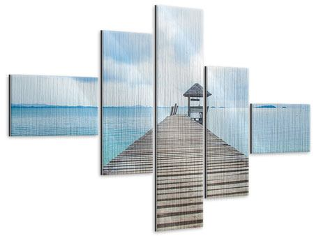 Metallic-Bild 5-teilig modern Ozean-Steg