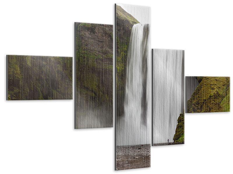Metallic-Bild 5-teilig modern Skogafoss