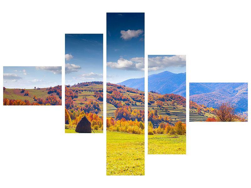 Metallic-Bild 5-teilig modern Herbstliche Berglandschaft